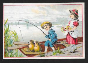 VICTORIAN TRADE CARD Johnston Reilly Dry Goods Boy Fishing in Boat Girl on Shore