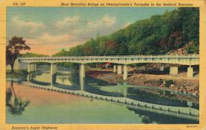 USA Most Beautiful Bridge on Pennsylvania Turnpike in the Bedfort Narrows 01.70