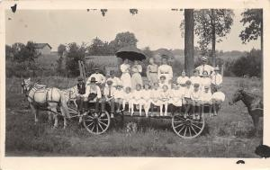 Real Photo Postcard~17 Kids on Farm Wagon~Ladies~Bearded Farmer~Horses~c1912