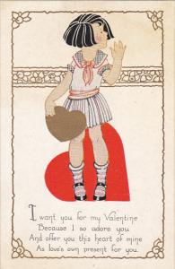 Valentine's Day Young Girl Holding Gold Heart