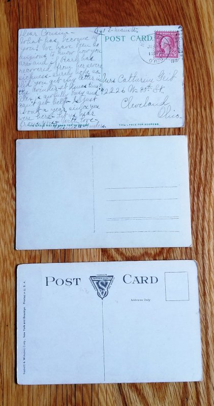 3 Military Post Cards from WW I era
