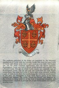 Postcard heraldry coat of arms Corby town crest Northamptonshire