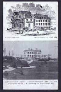 ME Vintage 1917 Cape Elizabeth Cottage Casino Maine Postcard Before & After Fire