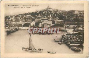 Old Postcard Marseille Basin Carenage and ND Guard Boat