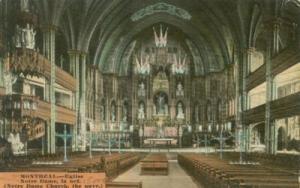 Canada, Montreal, Eglise Notre-Dame, La Nef, early 1900s ...