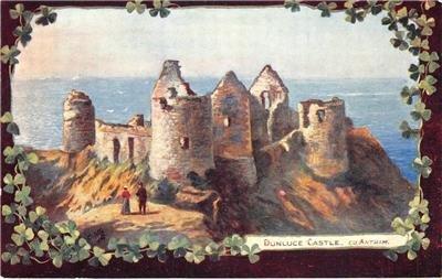DUNLUCE CASTLE County Antrim, Ireland Tuck Oilette c1910s Vintage Postcard