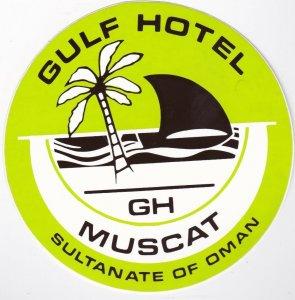 Oman Muscat Gulf Hotel Green Vintage Luggage Label lbl0699