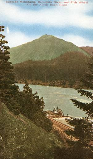 OR - Cascade Mountains, Columbia River & Fish Wheel on the North Bank Road