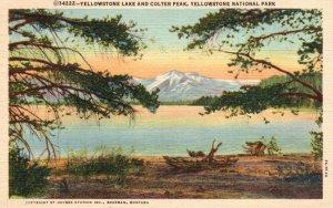 Yellowstone Nat'l Park, WY, Yellowstone Lake & Colter Peak, 1952 Postcard g8222
