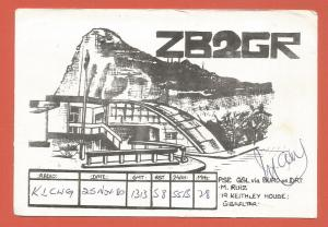 QSL AMATEUR RADIO CARD – GIBRALTAR – 1980 – BLOCK PRINT