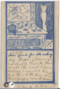 Blue on Sketch on white I am Yours For The Asking Vintage Postcard Vanity