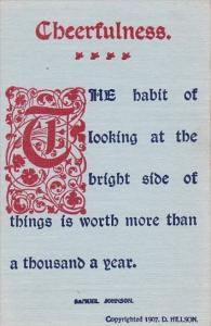 Motto Postcard Cheerfulness Copyright Hillson