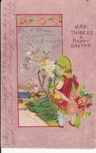 May thine be a Happy Easter, Girl walking on path, flowers, Country scene, ch...