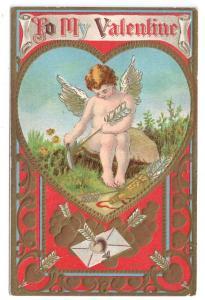 Cupid Sharpening Arrow Gold Gilt Embossed Hearts Vintage Valentine Postcard