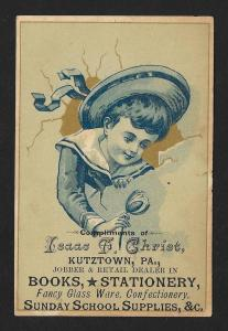 VICTORIAN TRADE CARD Isaac Christ Books Stationery