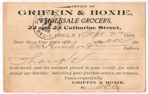 1898 Griffin & Hoxie Wholesale Grocers, Utica NY