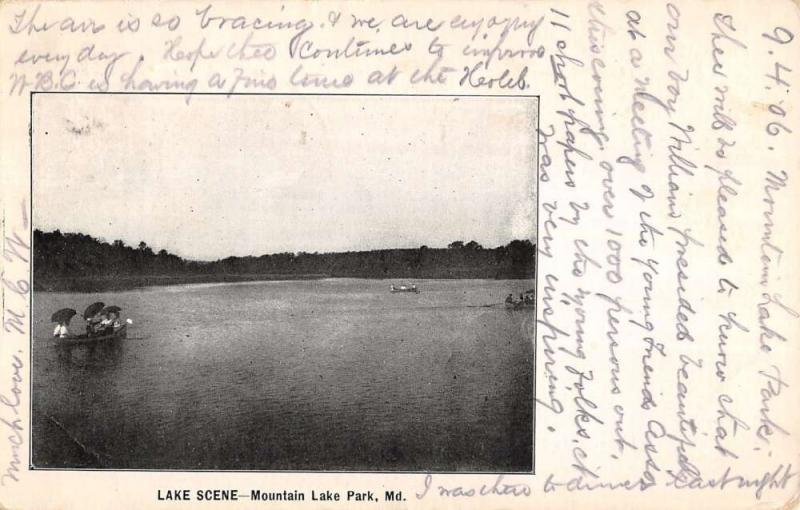 Mountain Lake Park Maryland Waterfront Scene Antique Postcard K32378