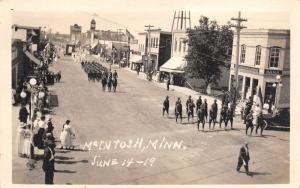 McInstosh Minnesota~Parade Past Bank~Soldiers March~Hat Shop~June 14 1919~RPPC