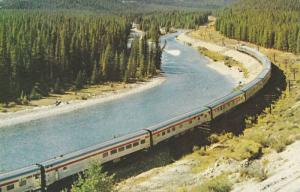 Aerial View of CP Rail Scenic Dome Streamliner Beside River, The Canadian in ...