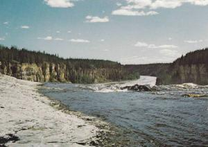 Overlooking the thunderous Alexander Falls,  Hay River,  Canadian North,  Can...