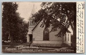 Nevada Iowa~Memorial Lutheran Church~LB De Mange Pub~1907 Postcard