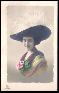 Pretty Lady in Fantastic Hat RPPC unused c1910's