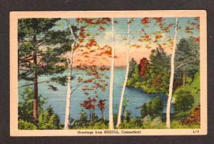 CT Greetings From Bristol Connecticut Postcard Linen PC, Conn