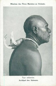 OCEANIA SOLOMON ISLANDS TYPE MELANESIAN NATIVE NECK ORNAMENT MELANESIA POSTCARD