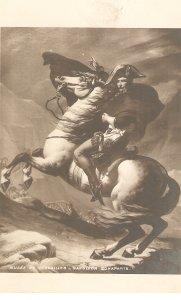 Napoleon Bonaparte on horse Fine painting, vintage French postcard