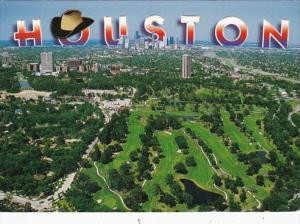 Texas Houston Aerial View Showing Golf Course