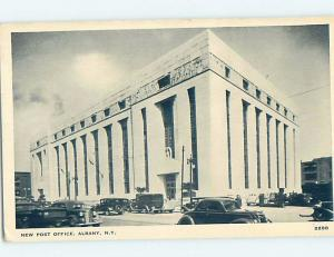 Unused 1940's OLD CARS AT POST OFFICE Albany New York NY d8834