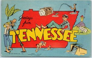 TENNESSEE Big Letter / Comic Postcard State Map Outline CURTEICH Linen 5C-H579