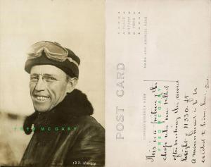 Circa-1911 Real Photo Postcard: Pioneer Aviator Hoxsey in Flying Attire