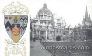 Brasenose, Coat Of Arms Postcard Post Card Unused