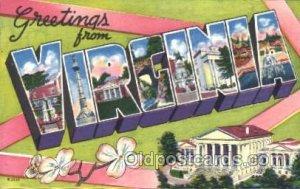 Virginia, USA Large Letter State Unused
