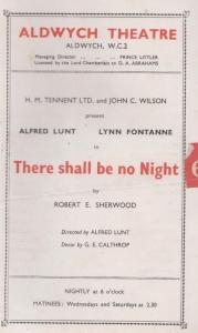 There Shall Be No Night Drama Old Aldwych Theatre Programme