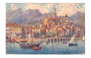 Sailboats, Canoes, Le Port Et La Vieille Ville, Menton (Alpes Maritimes), Fra...