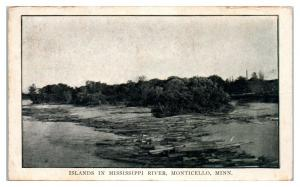 Early 1900s Log Jam and Mississippi River Islands, Monticello, MN *5C
