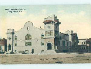 Unused Divided-Back CHURCH SCENE Long Beach - Los Angeles California CA A8565