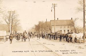 Blue Island Illinois~Western Avenue North of Des Plaines~Market Day~1909 RPPC