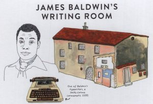 James Baldwin Book Writing Room Typewriter Painting Postcard