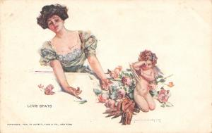 Howard Chandler Christy~Love Spats~Lovely Lady Coaxes Crying Cupid~Roses~1909