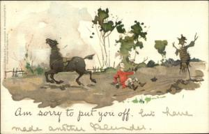 PINKIS Comic - Man Thrown From Horse Startled by Scarecrow c1905 Postcard
