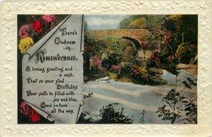 Postcard Greetings birthday flowers nature forest bridge
