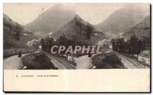 Stereoscopic Card - Cauterets - Road Railliere - Old Postcard