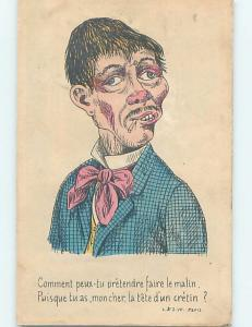 Pre-Linen comic foreign FRENCH MAN SMOKING A CIGARETTE HL9174