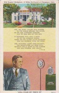Oklahoma Claremore Will Rogers Birth Place 12 Miles Northwest Of Claremore 1947