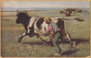 Boy chasing cow, Lady milking cow in back The Escaped Cow by Julien Dupre