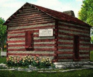 Cabina En Que Padres De Abraham Lincoln Casados Viejo Kentucky Lino Postal