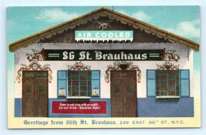 Postcard New York City 86th Street Brauhaus German Restaurant Vintage Linen I7